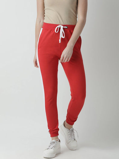 Griffel Women's Basic Solid Red Trackpant