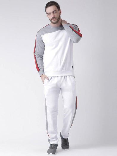 Griffel Men's Front Logo Design Basic Plating Round Neck Fleece Tracksuit - griffel