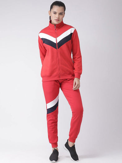 Griffel Women's Solid Fleece Full Sports Zipper and Joggers Full set Red Tracksuit