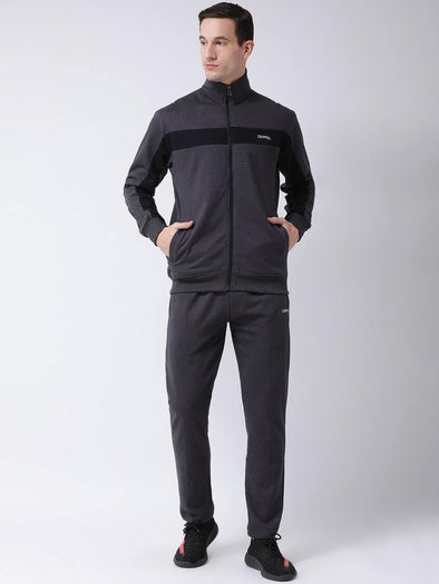 Griffel Men's Fleece Zipper Sweatshirt and Jogger Full Set Dark Grey Tracksuit f