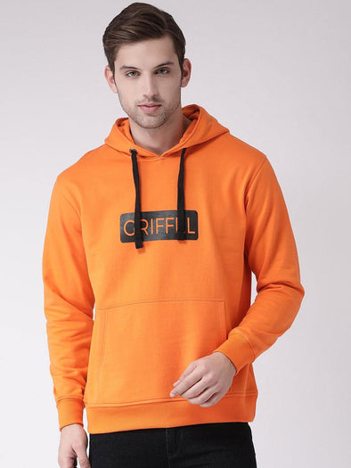 Griffel Men's Stylish Hooded Neck Orange Fleece Sweatshirt - griffel