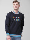 Griffel Men's Stylish Round neck Basic Solid Navy Fleece Sweatshirt - griffel