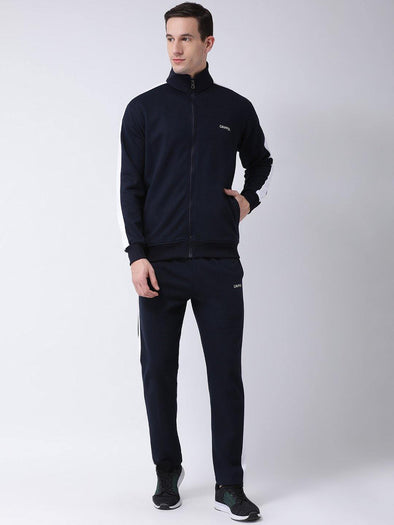 Griffel Men's Fleece Zipper and Jogger Full set Navy Blue Tracksuit