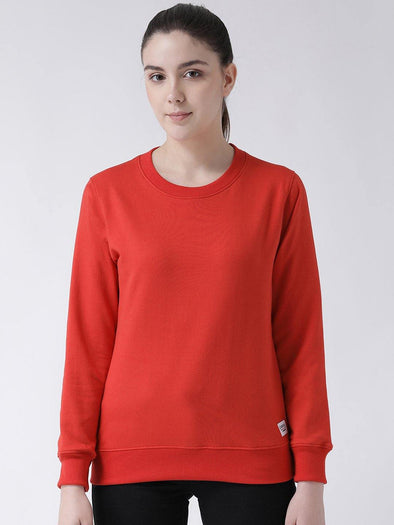 Griffel Women's Fitted Basic Solid Round Neck Sweatshirt