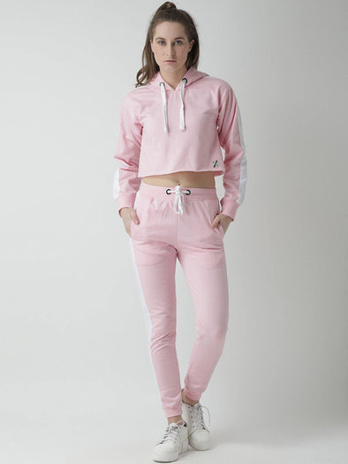 Griffel Women's Solid Hooded Neck Crop Sweatshirt Pink Fleece and Joggers Full set Tracksuit