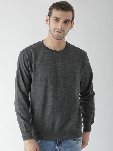 Griffel Men's Stylish Round neck Basic Solid Fleece Sweatshirt