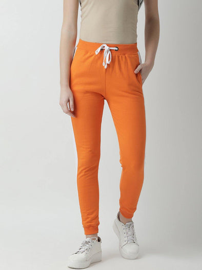 Griffel Women's Basic Solid Orange Trackpant