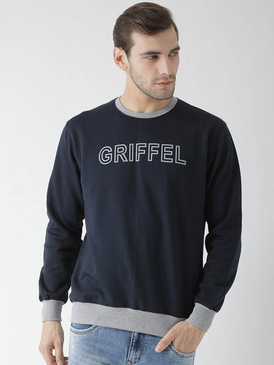 Griffel Men's Stylish Round neck Fleece Sweatshirt