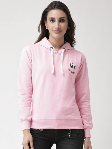 Griffel Women Printed Solid Fleece Hoodie