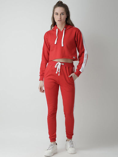 Griffel Women's Solid Hooded Neck Crop Sweatshirt Red Fleece and Joggers Full set Tracksuit