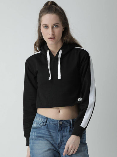 Griffel Women Solid Crop Fleece Hoodie