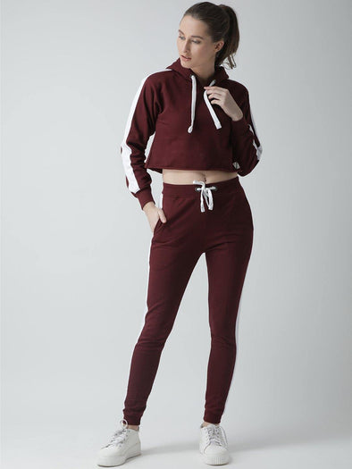 Griffel Women's Solid Hooded Neck Crop Sweatshirt Maroon Fleece and Joggers Full set Tracksuit