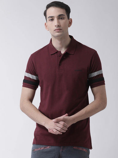GRIFFEL Men's Maroon Cotton Polo T-shirt