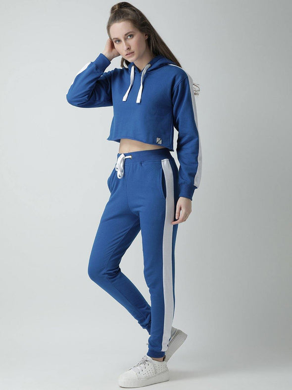 Griffel Women's Solid Hooded Neck Crop Sweatshirt Blue Fleece and Joggers Full set Tracksuit - griffel