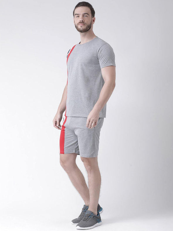 GRIFFEL Bermuda Suit Men Striped Grey Tee's & Shorts Set