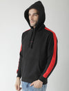 Griffel Men's Stylish Front Print Fleece Black Sweatshirt with Hood - griffel