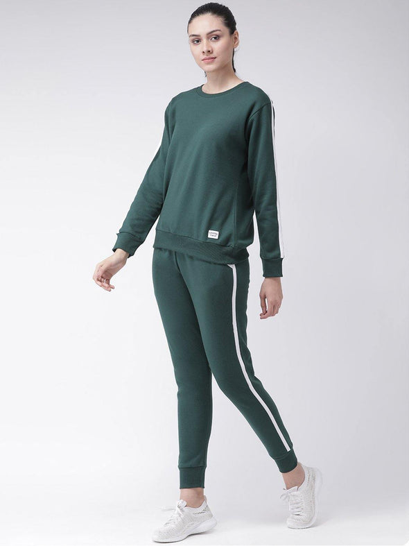 Griffel Women's Solid Round Neck Fleece and Joggers Full set Tracksuit - griffel