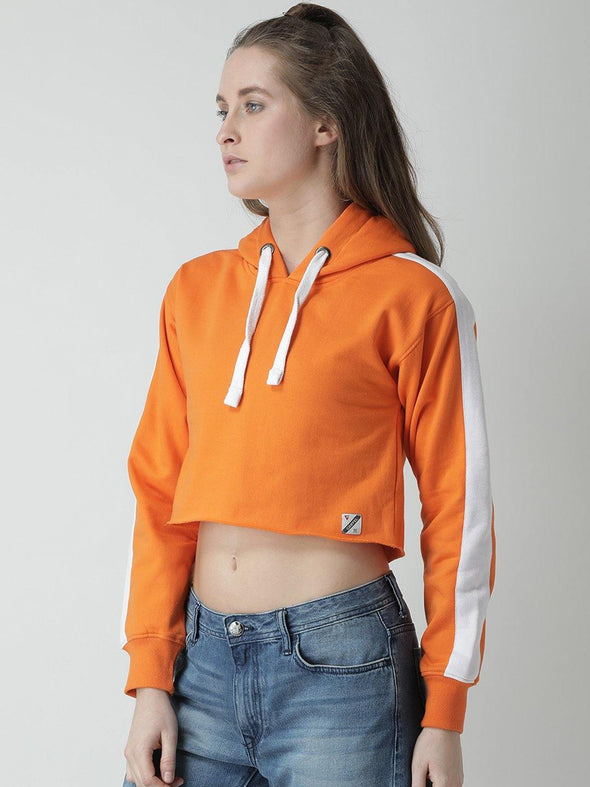 Griffel Women Solid Crop Fleece Hoodie - griffel