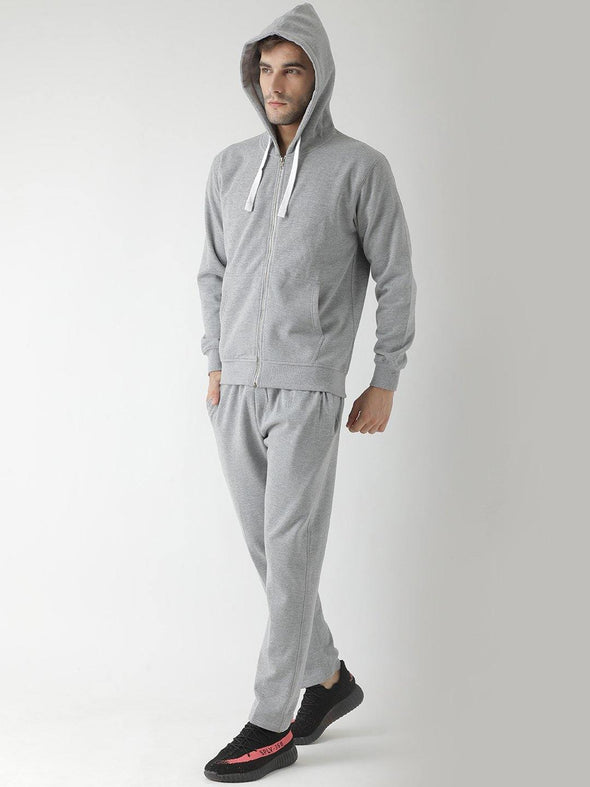 Griffel Men's Basic Cotton-plating Fleece Tracksuit with Metal Zip