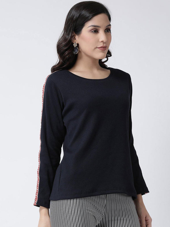 Griffel Women's Solid full sleeve Navy blue Rib Knit Full Sleeve T-shirt