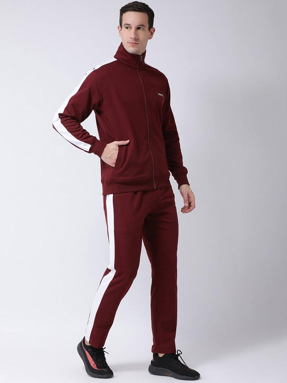 Griffel Men's Fleece Zipper and Jogger Full Set Maroon Tracksuit