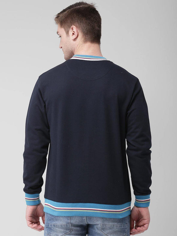 Griffel Men's Stylish Round neck Basic Solid Navy Fleece Sweatshirt