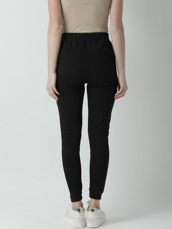Griffel Women's Basic Solid Black Trackpant - griffel