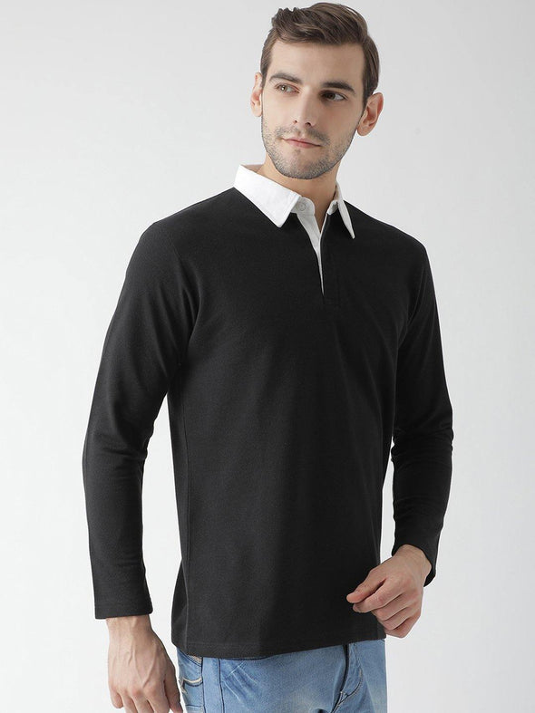 Griffel Men's Stylish Full Sleeve Polo T-shirt with Sleeve Contrast Collar