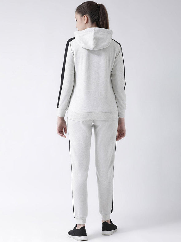 Griffel Women's Solid Fleece Basic Hoodie and Joggers Full set Off white Tracksuit