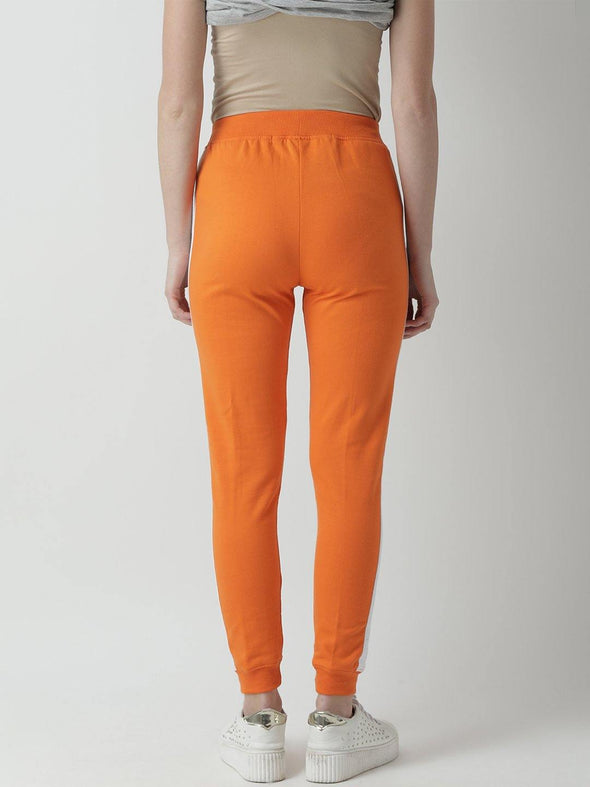 Griffel Women's Basic Solid Orange Trackpant - griffel