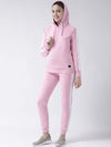 Griffel Women's Solid Fleece Basic Hoodie and Joggers Full set Pink Tracksuit