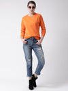 Griffel Women's Fitted Basic Solid Round Neck Sweatshirt - griffel