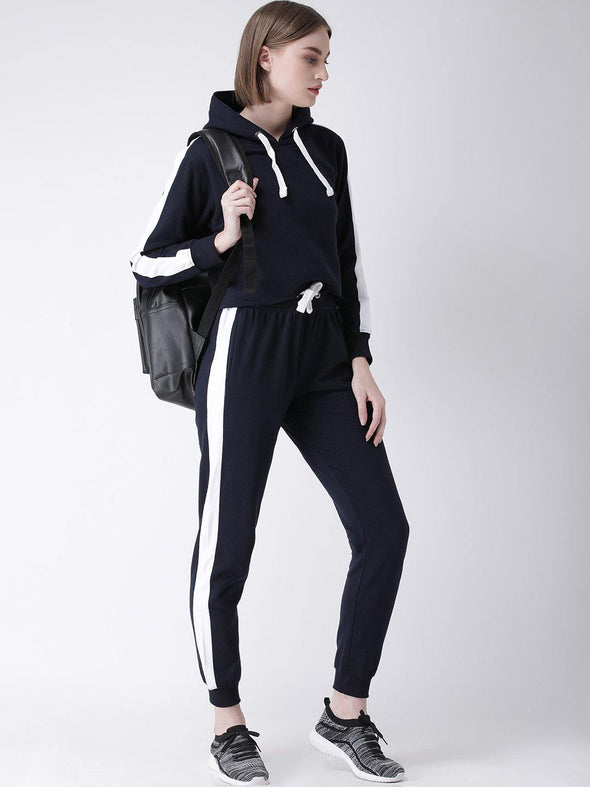 Women's Solid Hooded Neck Fleece navy Crop Sweatshirt and Joggers Full set Tracksuit