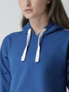 Griffel Women's Solid Hooded Neck Crop Sweatshirt Blue Fleece and Joggers Full set Tracksuit