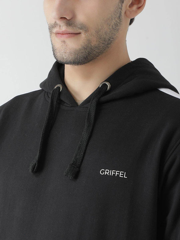 Griffel Men's Front Logo Design Basic Plating Hooded Fleece Tracksuit - griffel