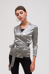 PLEATED SILVER WRAP TOP