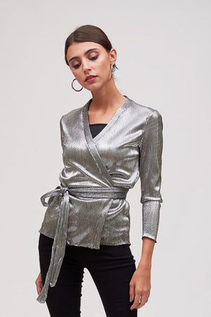 Mantra Pakistan PLEATED SILVER WRAP TOP | TOPS