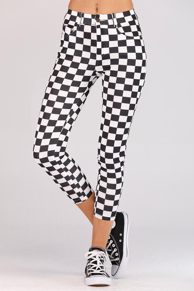 BLACK AND WHITE CHECKERED JEGGINGS