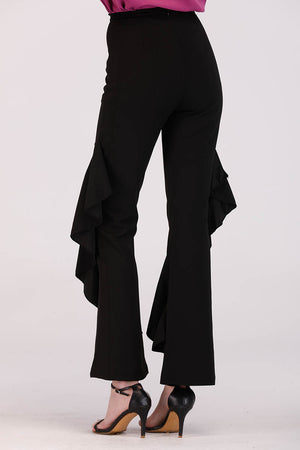 Mantra Pakistan PANTS WITH SIDE LAYERED FRILLS | BOTTOMS