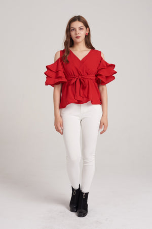 Mantra Pakistan Ruffle Sleeves Top | TOPS