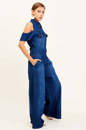 Mantra Pakistan COLD SHOULDER DENIM JUMPSUIT | DRESS