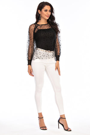 Mantra Pakistan Mesh Dotted Top with Tank Top | Western Wear