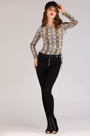 GOLDEN BUTTONED WAIST BAND JEGGINGS - Mantra Pakistan