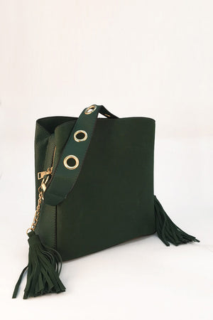 Mantra Pakistan FAUX SUEDE TOTE WITH TASSLE DETAIL | ACCESSORIES