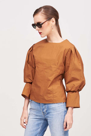 Mantra Pakistan RUST TOP WITH PUFFY SLEEVES | TOPS