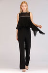 FLARED JUMPSUIT WITH EMBELLISHED NECK
