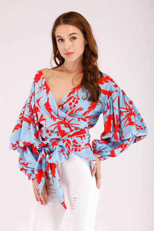 Mantra Pakistan PRINTED WRAP WITH PUFFY SLEEVES | TOPS