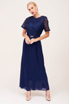 NAVY EMBROIDERED PARTY DRESS