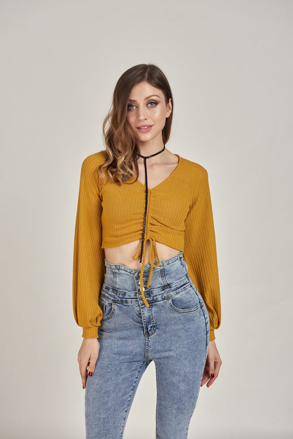 Ruched Drawstring Top with Puffy Sleeves