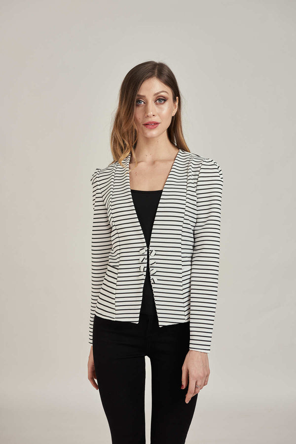 Mantra Pakistan Black & White Stripe Blazer | OUTERWEAR